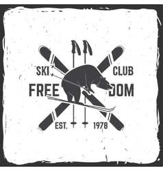 Ski club concept with bear vector image vector image