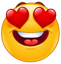 smiling emoticon face with heart eyes vector image