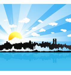 Sunny urban panorama background vector