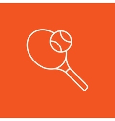 Tennis racket and ball line icon vector image vector image