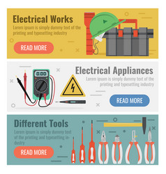 Three banners for electrical works vector