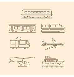 Transportation icons of tram subway train airplane vector