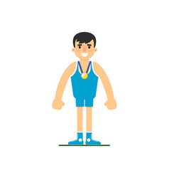 Young wrestler in sports uniform vector