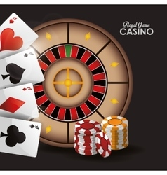 Cards chips roulette casino icon vector