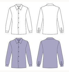 Long sleeve mans buttoned shirt outlined template vector