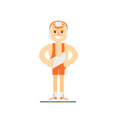Smiling weightlifter in sports uniform vector