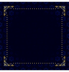dark blue card with gold frame vector image
