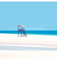 Lifeguard tower on a white sand beach vector