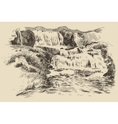 Waterfall landscape vintage engraving vector