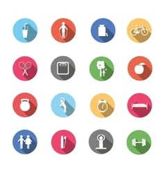 A set of colorful icons isolated healthy lifestyle vector