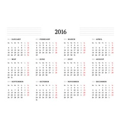 Simple calendar for 2016 12 months week starts vector
