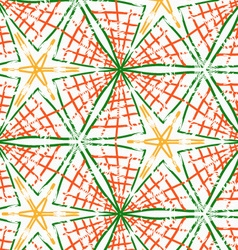 Rough brush green and orange checkered triangles vector