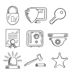 Security and safety sketched icons set vector