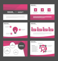 Pink tone presentation templates infographic set vector