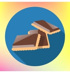 Chocolate cracker cookie flat icon vector