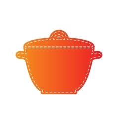 Saucepan simple sign orange applique isolated vector