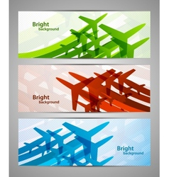 Set of banners with airplanes vector