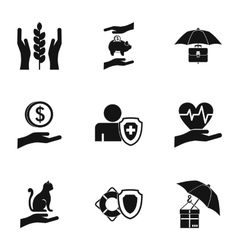 Assurance icons set simple style vector