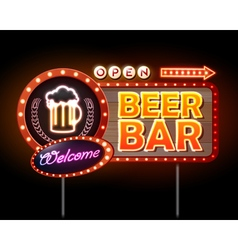 Beer bar neon sign vector