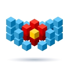 Blue cubes logo with red segments vector