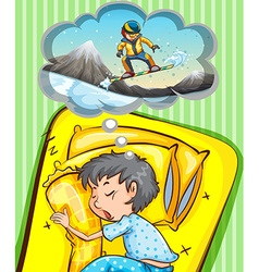 Boy sleeping and dreaming of snowboarding vector