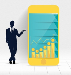 Businessman showing touchscreen device with graph vector image