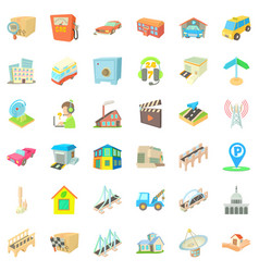 City tower icons set cartoon style vector