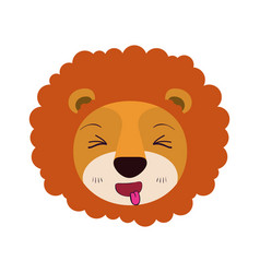 Colorful caricature cute face of lion sticking out vector