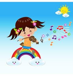 Cute Girl play music with Sun Rainbow and Cloud vector image