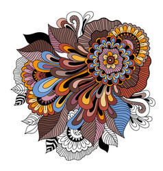 Doodle art floral composition tattoo flower vector