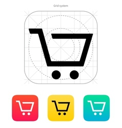 Empty supermarket shopping cart icon vector