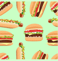 Fast food seamless pattern hamburger and hot dog vector