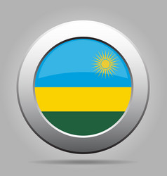 Flag of rwanda shiny metal gray round button vector