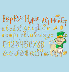 gold letters of a st patrick s day alphabet set vector image vector image