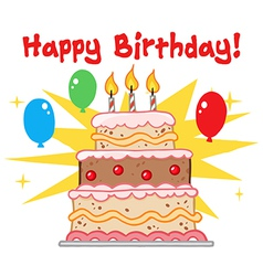 Greeting With Birthday Cake vector image