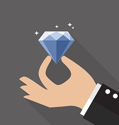 Hand with diamond flat style vector