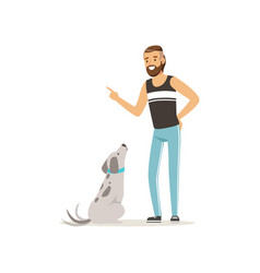 Handsome man teaching his dog to sit bearded guy vector