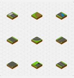 Isometric way set of plash down road and other vector