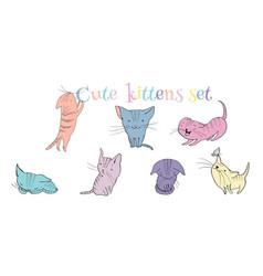 Little kittens set vector