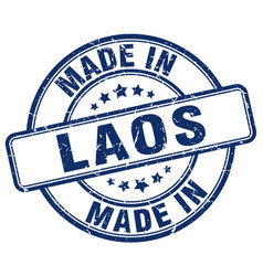 Made in laos blue grunge round stamp vector