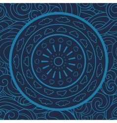 Mandala doodle seamless pattern circle vector