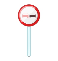 No overtaking road traffic sign icon cartoon style vector