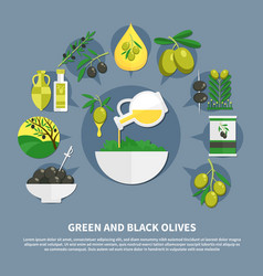 Olives flat composition vector
