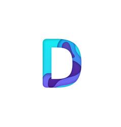 realistic paper cut letter d vector image