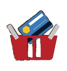 Red basket buying online bank credit card sketch vector