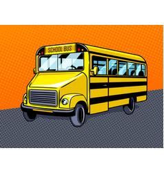 school bus pop art style vector image vector image