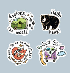 set of cartoon stickers patches or pins vector image