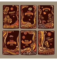 Set of decorative autumn cards design vector