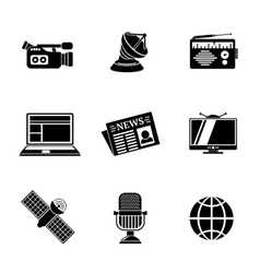 Set of media icons - news radio tv internet vector