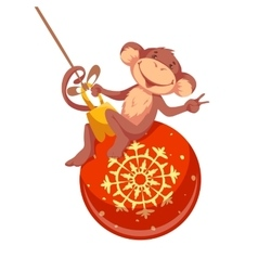 Sweet monkey with Christmas toy for 2016 New Year vector image